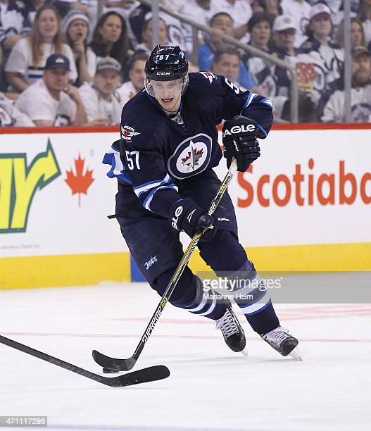 Tyler Myers of the Winnipeg Jets skates down the ice during second period action in Game Four of the Western Conference Quarterfinals against the...