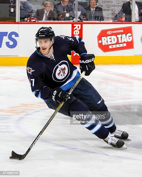 Tyler Myers of the Winnipeg Jets takes part in the pregame warm up prior to action against the Anaheim Ducks in Game Four of the Western Conference...