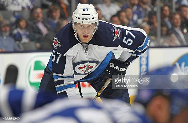 Tyler Myers of the Winnipeg Jets waits for a faceoff against the Toronto Maple Leafs during an NHL game at the Air Canada Centre on November 4 2015...