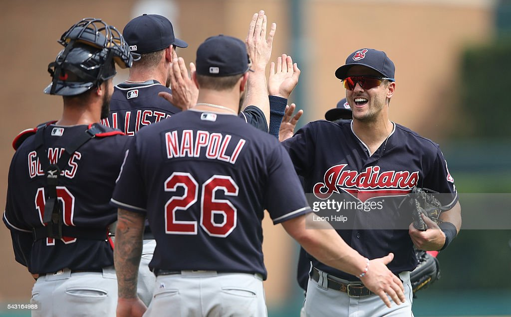 Tyler Naquin #30 of the Cleveland Indians celebrates a win over the Detroit Tigers with his teammates during the game on June 26, 2016 at Comerica Park in Detroit, Michigan. The Indians defeated the Tigers 9-3.