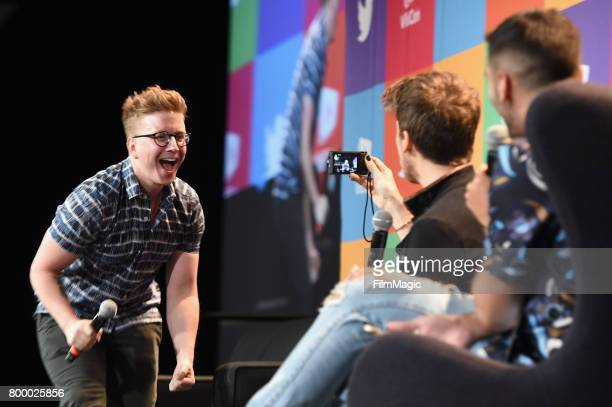 Tyler Oakley and Joey Graceffa appear at Escape the Night 2 panel and premiere at VidCon at Anaheim Convention Center on June 22 2017 in Anaheim...
