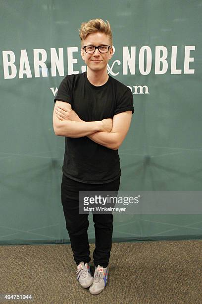 Tyler Oakley attends his book signing for 'Binge' at Barnes Noble at The Grove on October 28 2015 in Los Angeles California