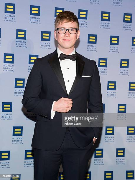 Tyler Oakley attends the 2016 Human Rights Campaign New York gala dinner at The Waldorf=Astoria on February 6 2016 in New York City