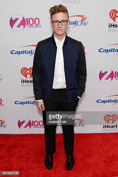 Tyler Oakley attends Z100's iHeartRadio Jingle Ball 2015 arrivals at Madison Square Garden on December 11 2015 in New York City