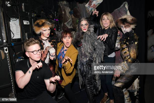 Tyler Oakley Christine Cornish Smith Mamrie Hart Mamie Parris Grace Helbig and Jakob Karr backstage at 'Cats' on Broadway at the Neil Simon Theatre...