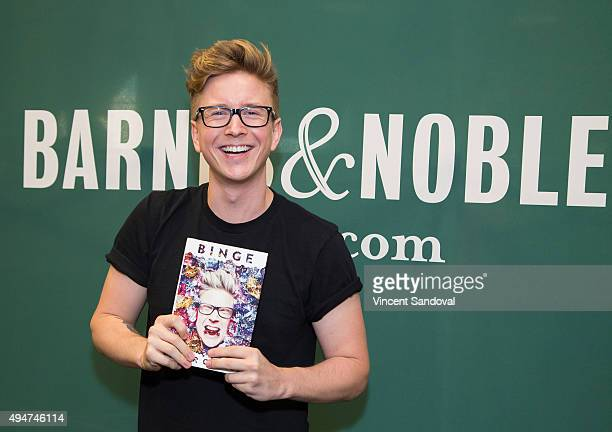 Tyler Oakley signs his new book 'Binge' at Barnes Noble at The Grove on October 28 2015 in Los Angeles California