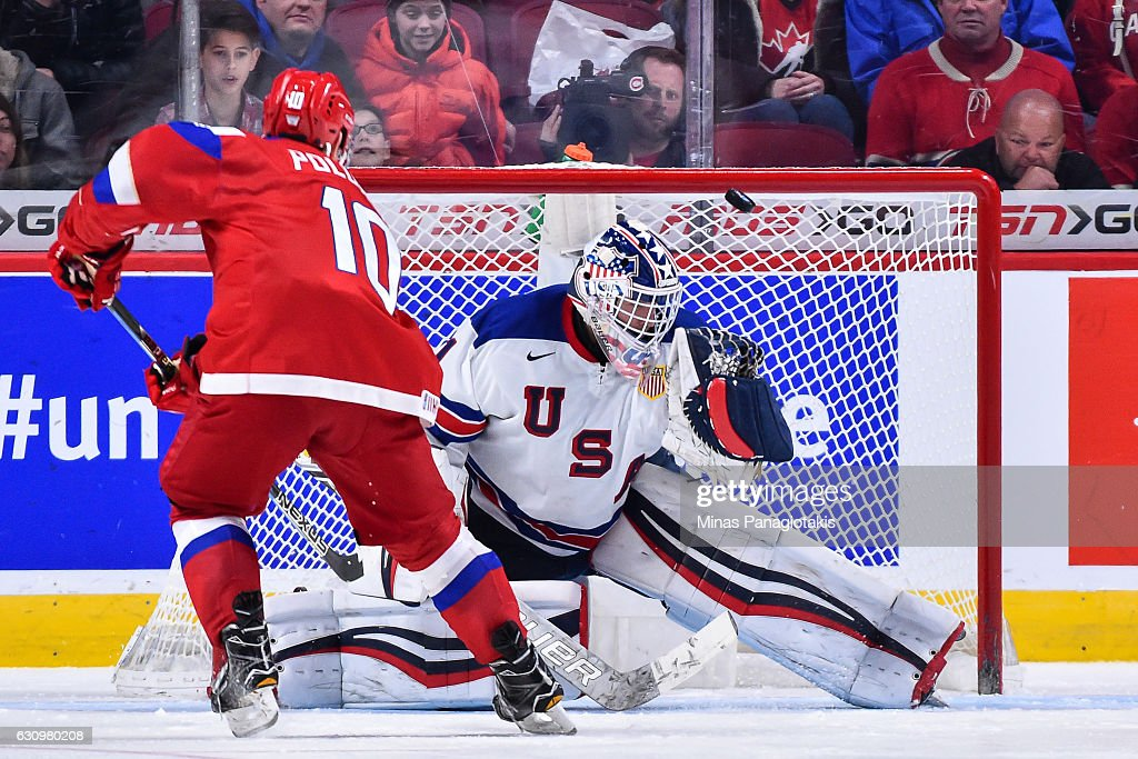 Tyler Parsons #1 of Team United States makes a save on Alexander Polunin #10 of Team Russia during the 2017 IIHF World Junior Championship semifinal game at the Bell Centre on January 4, 2017 in Montreal, Quebec, Canada. The Team United States defeated Team Russia 4-3 in a shootout.