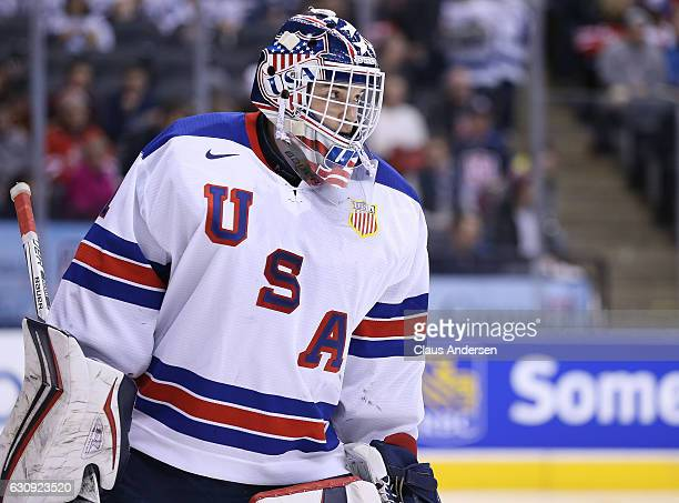 Tyler Parsons of Team USA gets set for a faceoff against Team Switzerland during a QuarterFinal game at the 2017 IIHF World Junior Hockey...