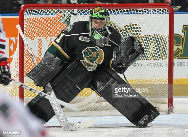 Tyler Parsons of the London Knights looks to face a shot against the Owen Sound Attack during an OHL game at Budweiser Gardens on February 3 2017 in...