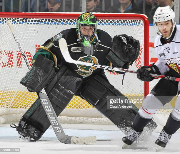 Tyler Parsons of the London Knights watches for a puck against the Owen Sound Attack during an OHL game at Budweiser Gardens on February 3 2017 in...
