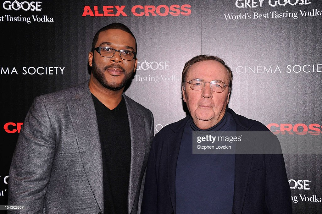 <a gi-track='captionPersonalityLinkClicked' href=/galleries/search?phrase=Tyler+Perry&family=editorial&specificpeople=678008 ng-click='$event.stopPropagation()'>Tyler Perry</a> and <a gi-track='captionPersonalityLinkClicked' href=/galleries/search?phrase=James+Patterson+-+Author&family=editorial&specificpeople=1717926 ng-click='$event.stopPropagation()'>James Patterson</a> attend The Cinema Society & Grey Goose Host A Screening Of 'Alex Cross' at Tribeca Grand Hotel on October 18, 2012 in New York City.