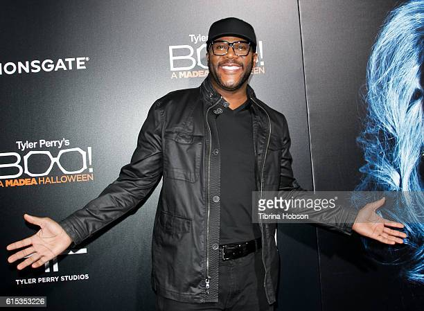 Tyler Perry attends the premiere of 'Boo A Madea Halloween' at ArcLight Cinemas Cinerama Dome on October 17 2016 in Hollywood California