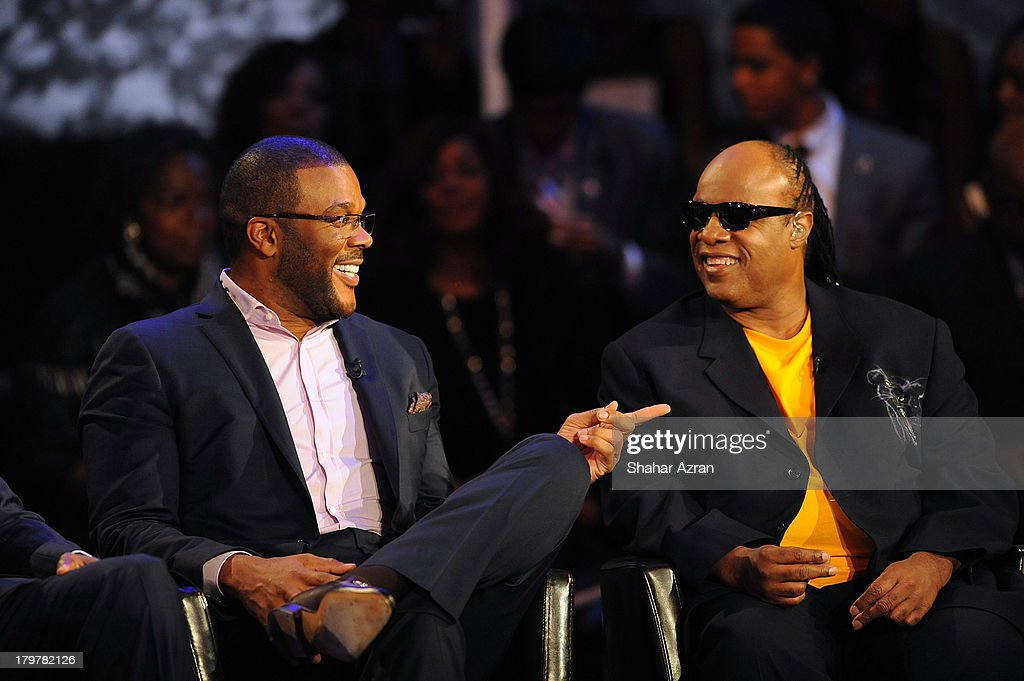 Tyler Perry Stevie Wonder attend 'Advancing The Dream: Live From The Apollo' Hosted By Reverend Al Sharpton at The Apollo Theater on September 6, 2013 in New York City.