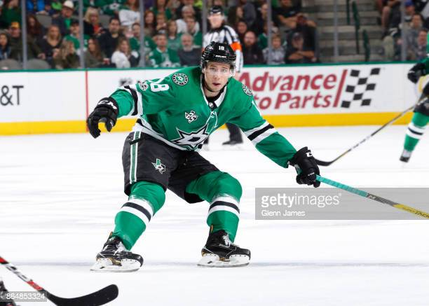 Tyler Pitlick of the Dallas Stars skates against the Carolina Hurricanes at the American Airlines Center on October 21 2017 in Dallas Texas
