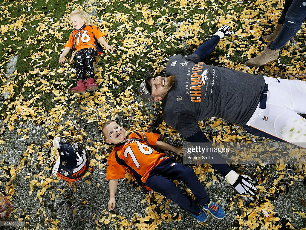 <a gi-track='captionPersonalityLinkClicked' href=/galleries/search?phrase=Tyler+Polumbus&family=editorial&specificpeople=2140973 ng-click='$event.stopPropagation()'>Tyler Polumbus</a> #76 of the Denver Broncos celebrates after defeating the Carolina Panthers 24-10 in Super Bowl 50 at Levi's Stadium on February 7, 2016 in Santa Clara, California.