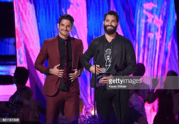 Tyler Posey and Tyler Hoechlin speak onstage at Teen Choice Awards 2017 at Galen Center on August 13 2017 in Los Angeles California