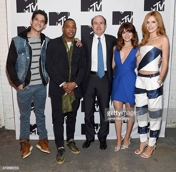 Tyler Posey Ja Rule President and CEO of Viacom Philippe Dauman Katie Stevens and Bella Thorne attend the MTV 2015 Upfront presentation on April 21...