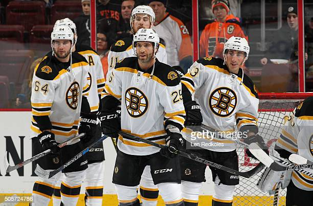 Tyler Randell Max Talbot Brad Marchand Patrice Bergeron and Jimmy Hayes of the Boston Bruins warm up prior to their game against the Philadelphia...