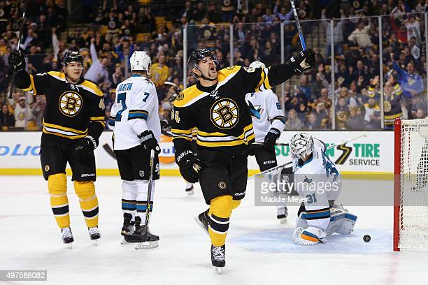 Tyler Randell of the Boston Bruins celebrates after scoring a goal against the San Jose Sharks during the first period at TD Garden on November 17...