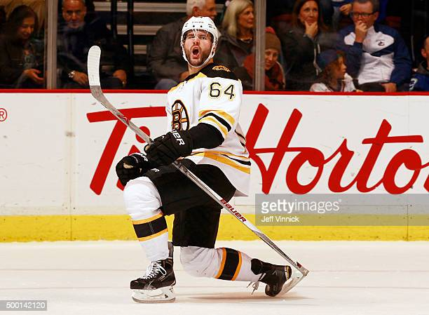 Tyler Randell of the Boston Bruins celebrates after scoring against the Vancouver Canucks during their NHL game at Rogers Arena December 5 2015 in...