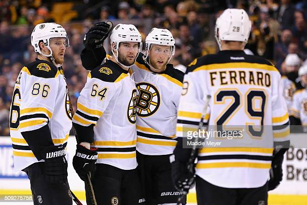 Tyler Randell of the Boston Bruins celebrates with Kevan Miller Landon Ferraro and Joe Morrow after scoring against the Los Angeles Kings during the...