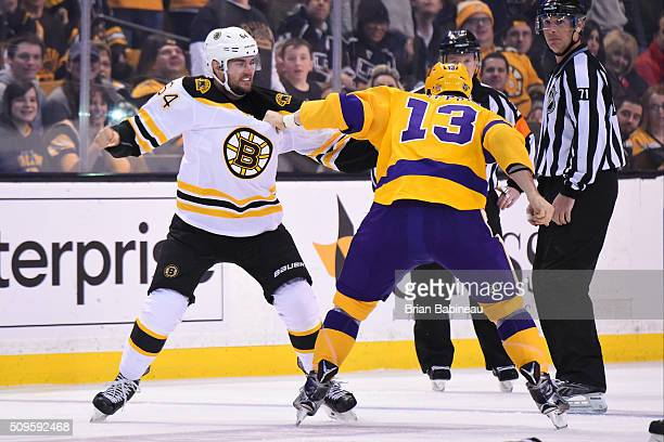 Tyler Randell of the Boston Bruins fights against Kyle Clifford of the Los Angeles Kings at the TD Garden on February 9 2016 in Boston Massachusetts