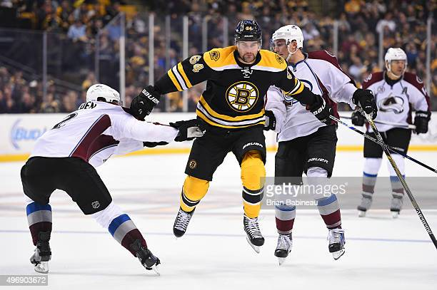 Tyler Randell of the Boston Bruins skates against the Colorado Avalanche at the TD Garden on November 12 2015 in Boston Massachusetts
