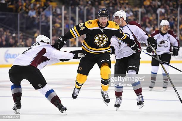 Tyler Randell of the Boston Bruins skates against the Colorado Avalanche at the TD Garden on November 12 2015 in Boston Massachusetts