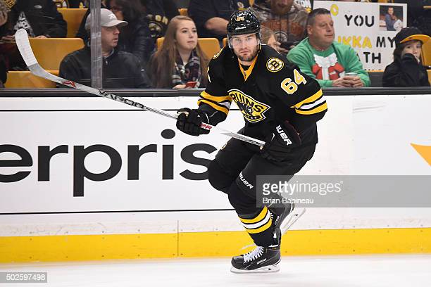 Tyler Randell of the Boston Bruins skates during warm ups before the game against the Buffalo Sabres at the TD Garden on December 26 2015 in Boston...