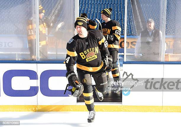 Tyler Randell of the Boston Bruins takes the ice for practice as part of the 2016 Bridgestone NHL Classic at Gillette Stadium on December 31 2015 in...