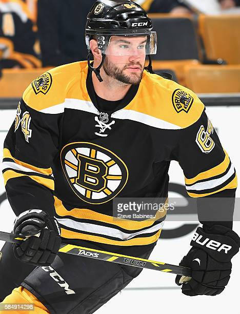 Tyler Randell of the Boston Bruins warms up before the game against the Arizona Coyotes at TD Garden on October 27 2015 in Boston Massachusetts