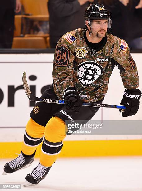 Tyler Randell of the Boston Bruins warms up before the game against the Colorado Avalanche at TD Garden on Novemeber 12 2015 in Boston Massachusetts