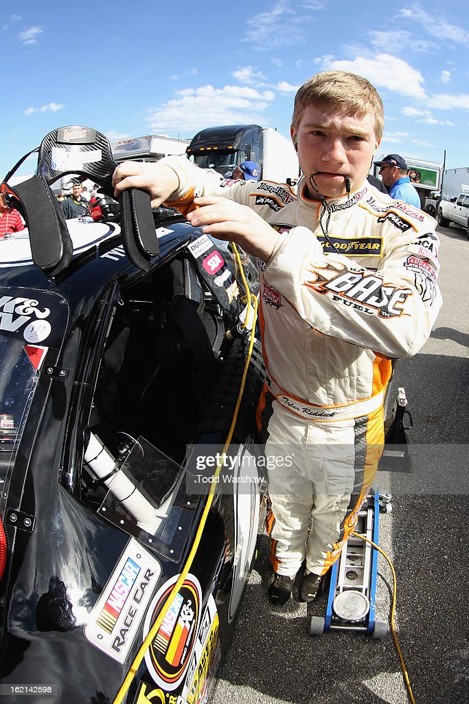 Tyler Reddick prepares to drive the #00 Broken Bow Records Chevrolet during K&N Series practice for the UNOH Battle At The Beach at Daytona International Speedway on February 19, 2013 in Daytona Beach, Florida.