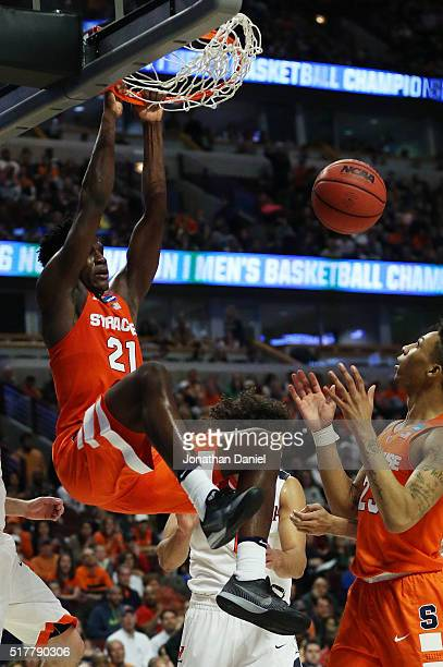 Tyler Roberson of the Syracuse Orange dunks against the Virginia Cavaliers in the first half during the 2016 NCAA Men's Basketball Tournament Midwest...