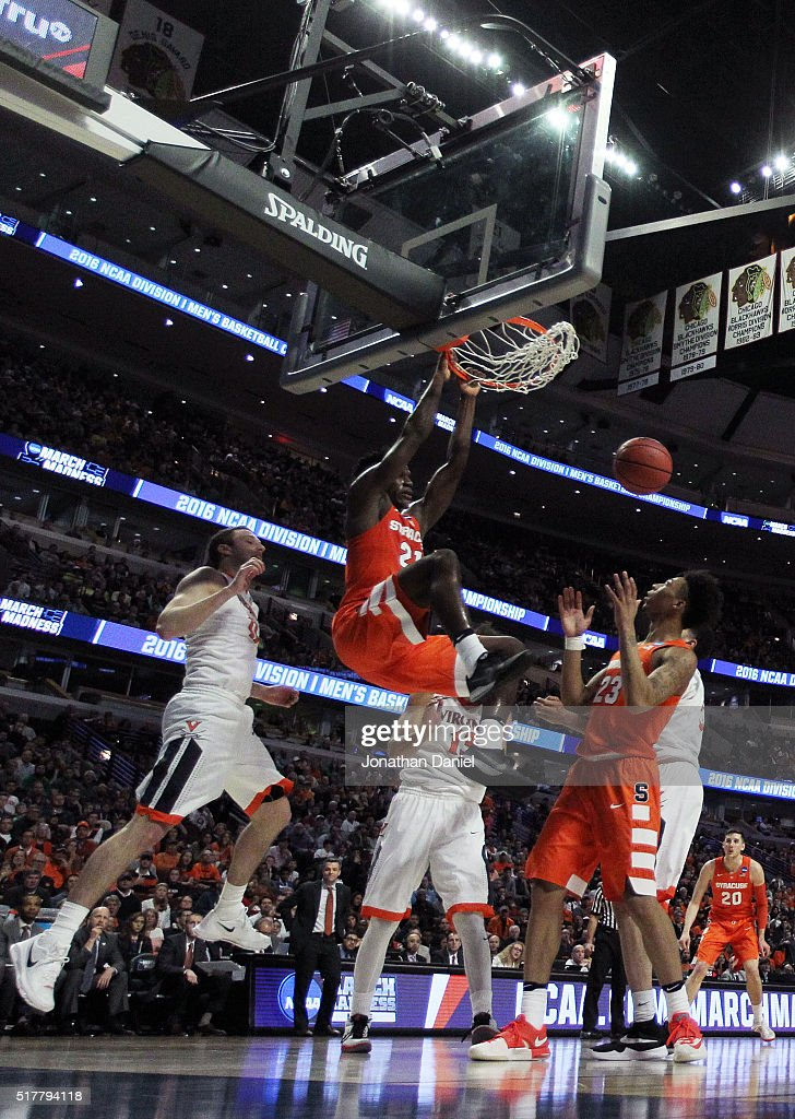 Tyler Roberson of the Syracuse Orange dunks in the first half against the Virginia Cavaliers during the 2016 NCAA Men's Basketball Tournament Midwest...