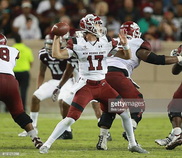 Tyler Rogers of the New Mexico State Aggies looks for a receiver against the Texas AM Aggies in the second quarter at Kyle Field on October 29 2016...