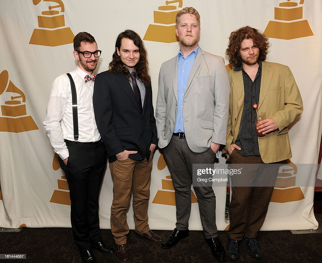 Tyler Rountree, Joel Frees, Philip Moore and Zak Gardner attend the 55th Annual GRAMMY Awards Telecast Party at Hard Rock Cafe on February 10, 2013 in Chicago, Illinois.