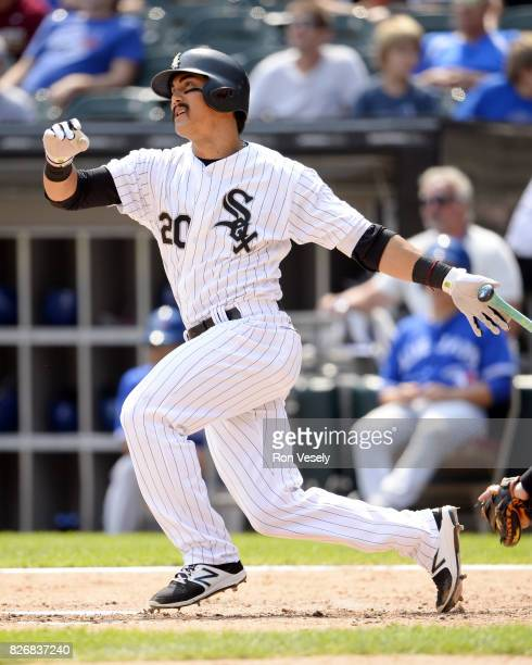 Tyler Saladino of the Chicago White Sox bats against the Toronto Blue Jays on August 2 2017 at Guaranteed Rate Field in Chicago Illinois
