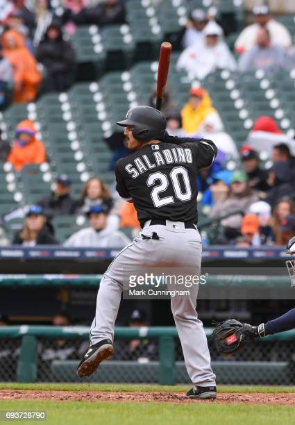 Tyler Saladino of the Chicago White Sox bats during the game against the Detroit Tigers at Comerica Park on April 30 2017 in Detroit Michigan The...
