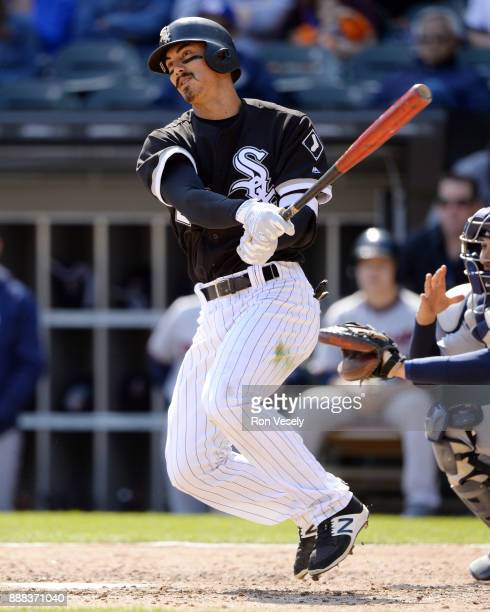 Tyler Saladino of the Chicago White Sox bats during the game against the Minnesota Twins at Guaranteed Rate Field on Saturday April 8 2017 in Chicago...
