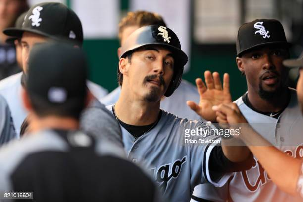 Tyler Saladino of the Chicago White Sox celebrates scoring a run against the Kansas City Royals during the fifth inning at Kauffman Stadium on July...