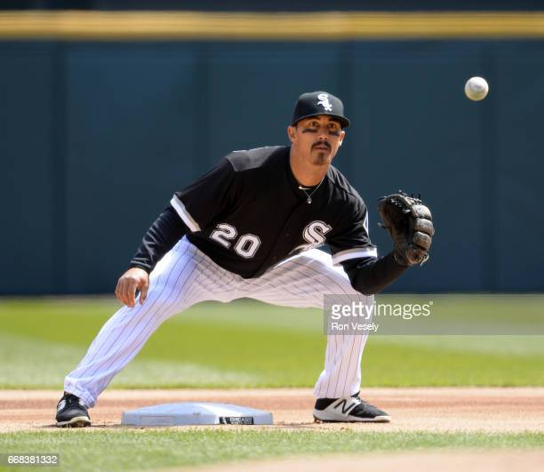Tyler Saladino of the Chicago White Sox fields against the Detroit Tigers on April 6 2017 at Guaranteed Rate Field in Chicago Illinois The White Sox...