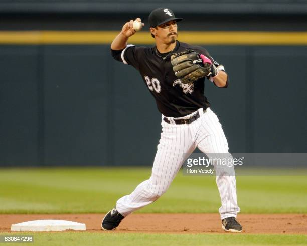 Tyler Saladino of the Chicago White Sox fields against the Seattle Mariners on July 14 2017 at Guaranteed Rate Field in Chicago Illinois