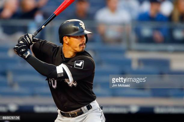 Tyler Saladino of the Chicago White Sox in action against the New York Yankees at Yankee Stadium on April 17 2017 in the Bronx borough of New York...