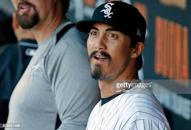Tyler Saladino of the Chicago White Sox in the dugout before the game against the Cleveland Indians at Guaranteed Rate Field on July 28 2017 in...