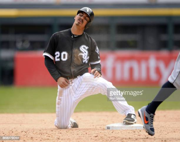 Tyler Saladino of the Chicago White Sox reacts after being called out at second base against the Detroit Tigers on April 6 2017 at Guaranteed Rate...