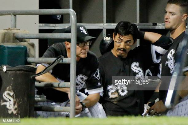 Tyler Saladino of the Chicago White Sox reacts after popping out on a bunt against the Los Angeles Dodgers during the sixth inning at Guaranteed Rate...