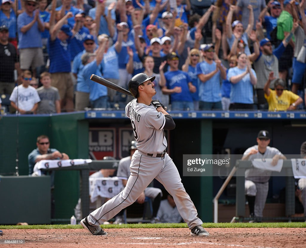 Tyler Saladino #18 of the Chicago White Sox reacts after striking out to end a game against the Kansas City Royals at Kauffman Stadium on May 29, 2016 in Kansas City, Missouri. The Royals won 5-4.