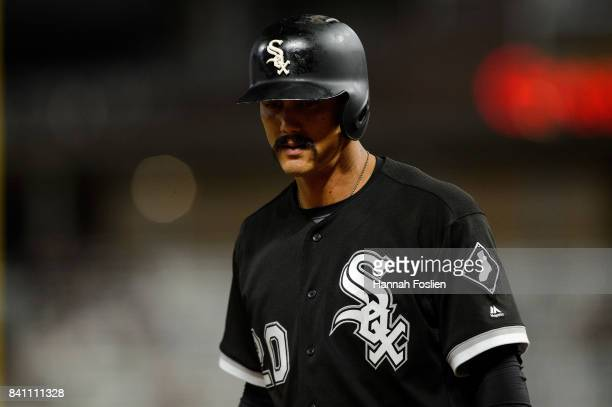 Tyler Saladino of the Chicago White Sox reacts to striking out against the Minnesota Twins during the game on August 29 2017 at Target Field in...