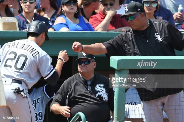 Tyler Saladino of the Chicago White Sox returns to the dugout after scoring in the second inning of a game against the Boston Red Sox at Fenway Park...